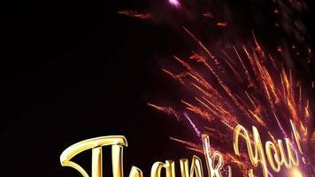Obrigado, texto dourado com movimento circular de fogos de artifício video