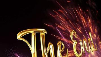 le texte d'or de fin avec le mouvement de particules de feux d'artifice video