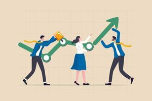 Business development process people help building or developing company growth graph with up rising arrow vector