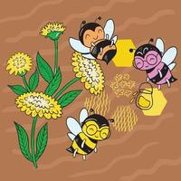 Vector illustration of a bee on a field among the flowers collect nectar on a brown background