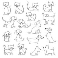 cats and dogs black outline digital stamps vector