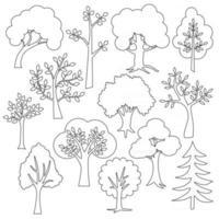trees black outline digital stamps vector