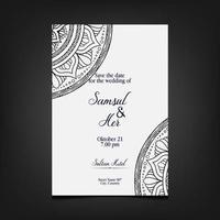 Fondo adornado de mandala de oro de lujo para invitación de boda vector