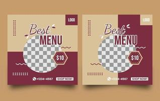 Food culinary for social media promotion vector