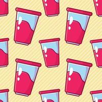 Ilustración de patrones sin fisuras de bebida de yogur en estilo plano vector