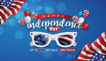 Usa independence day sale promotion advertising banner template vector