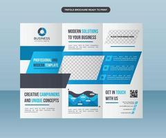 diseño de folleto comercial de formas de borde moderno azul vector