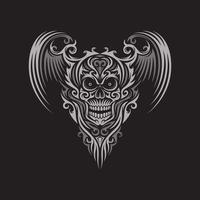 Ornate Winged Skull On Black vector