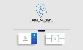 digital pin map line logo template vector illustration icon element isolated  vector