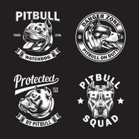 Colección de logotipos y emblemas de perros pit bull terrier vector
