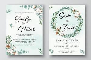 Wedding invitation template with cotton flowers eucalyptus leaves vector