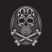 Ornate Skull and Crossbones On Black vector