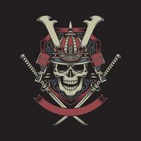Samurai Warrior Skull with Crossed Katana Swords vector