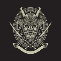 Samurai Warrior With Katana Sword On Black vector
