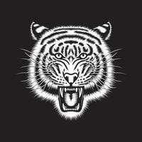 Angry And Grinning Tiger Head On Black vector