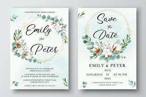 Watercolor wedding invitation template with cotton flowers and eucalyptus leaves vector