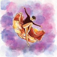 Vector illustration of a portrait of a dancer girl in an orange dress in motion in a watercolor style