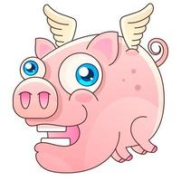 vector cute flying pig illustration Vector design