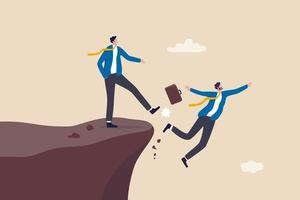 Business dishonesty betrayal or jealousy colleague businessman kick business partner fall off the cliff vector