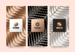 Set label templates with abstract texture for luxury products vector