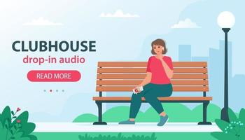 banner with vector illustration of Clubhouse invite only social network based on audio chat