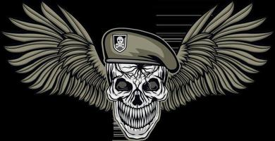 Signo militar con calavera y alas camisetas de diseño vintage grunge vector