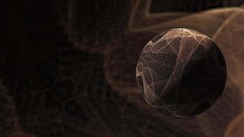 esfera de malha de arame de ouro marrom no ciberespaço virtual video