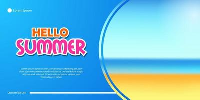 Hello summer banner with vacation sand beach coast landscape illustration with blue background vector