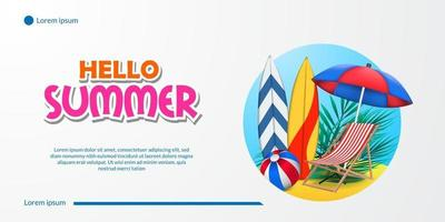 Hello summer banner with vacation sand beach coast with surfboard umbrella chair and ball landscape illustration vector