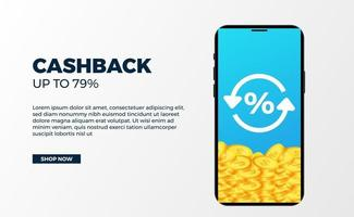 Cashback banner promotion money advertising with 3d golden coin dollar with phone with white background vector
