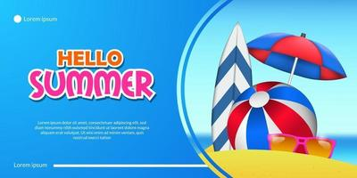 Hello summer banner with vacation sand beach coast with surfboard umbrella and ball landscape illustration with blue background vector
