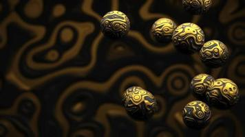 Loop harmonious movement gold matter spheres smooth transitions video