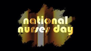 Dia Nacional das Enfermeiras - Distintivo Dourado com Texto - Banner Loop video