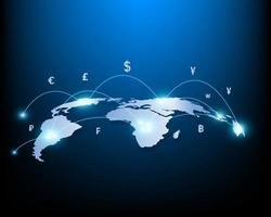 Global money transfer and exchange business network and stocks vector