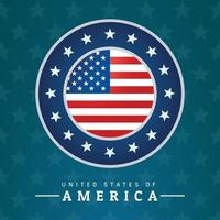 Round logo in the center with the flag of the USA vector