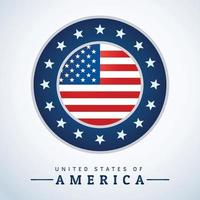 Round logo in the center with USA flag vector