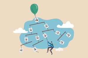 Career path or job opportunity work promoted or development to be success in company concept confidence businessman climbing rope from organization chart high up to CEO position vector
