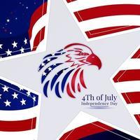 american flag in eagle head shape vector