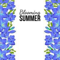 pancarta blanca con flores azules en los bordes vector