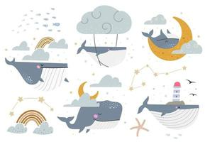 Celestial whales vector set Collection of various fantasy illustrations with whales