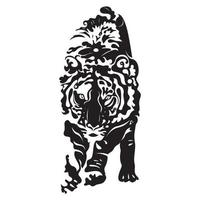 TIGER in black and white style siihouette white white background vector