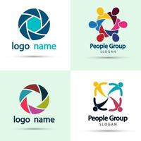 Vector graphic group connection logo people in the circle logo team work