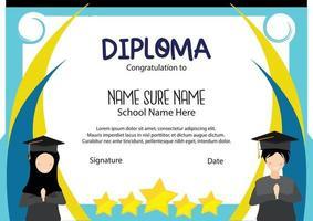 blue graduation student muslim stars certificated award school and preschool kindergarten children diploma kids vector