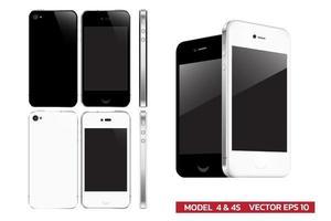 Mock up of popular phone generation in fourth gen realistic vector illustration for presentation