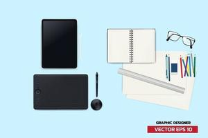graphic designer equipment analog  and digital device creator with device to create anything vector