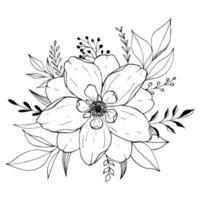 Blossom flowers sketch vector