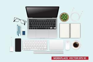 Realistic workspace elements workplace with elements on desk top view Modern Technology working Place plant keyboard cup of coffee smartphone laptop writting item vector graphic