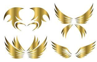 set of gold animal wings logo design vector illustration suitable for branding or symbol