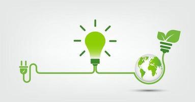 Energy ideas save the world concept Power plug green ecology vector