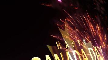 boucle d'animation de feux d'artifice de texte d'or joyeux canada video